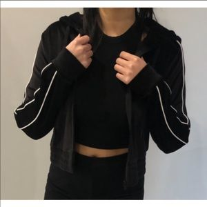 Garage Black Velvet Cropped Jacket Size: XS